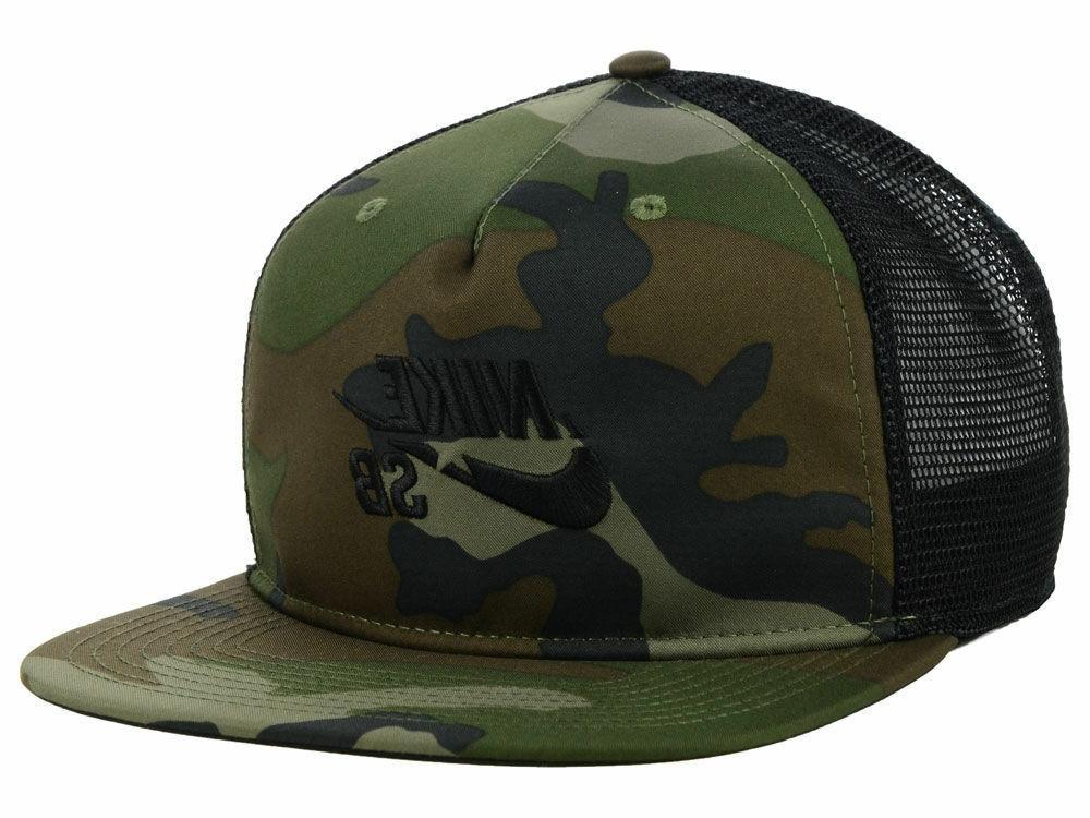 NIKE Baseball Trucker Cap Army Camo SB Hat Snapback Mesh Gre