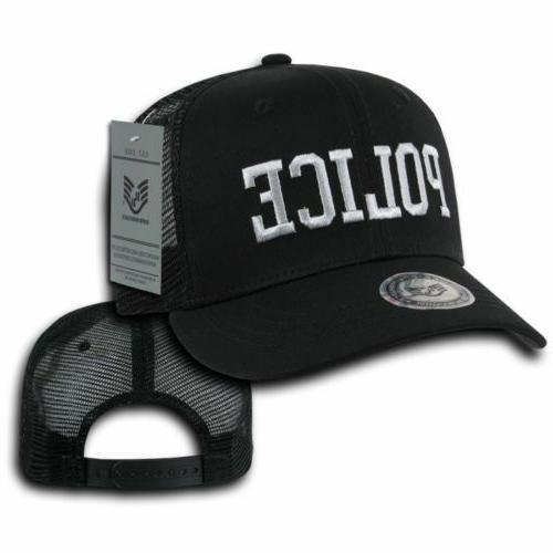 Black Police Windbreaker Zipper Jacket Trucker Baseball