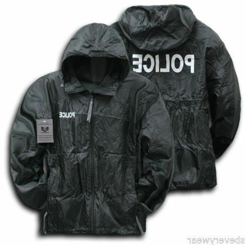 Black Police Zipper Jacket Hood Trucker Baseball Cap