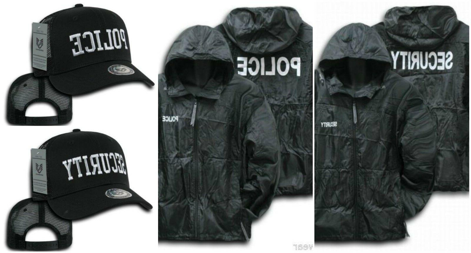 black security police windbreaker zipper jacket hood