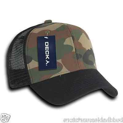 Decky Camouflage Curve Constructed Trucker Hats Snapback Cotton