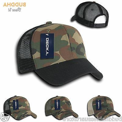 Decky Camouflage Curve Bill Constructed Trucker Hats Snapback Cotton