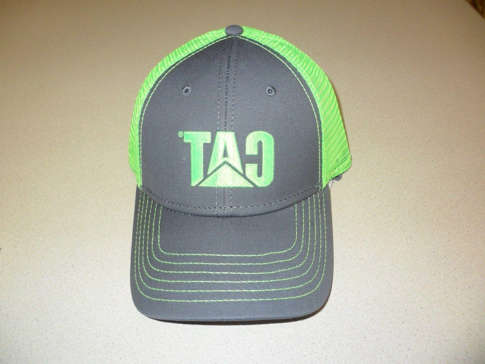 Caterpillar Charcoal Hat Neon Green CAT logo & mesh Trucker