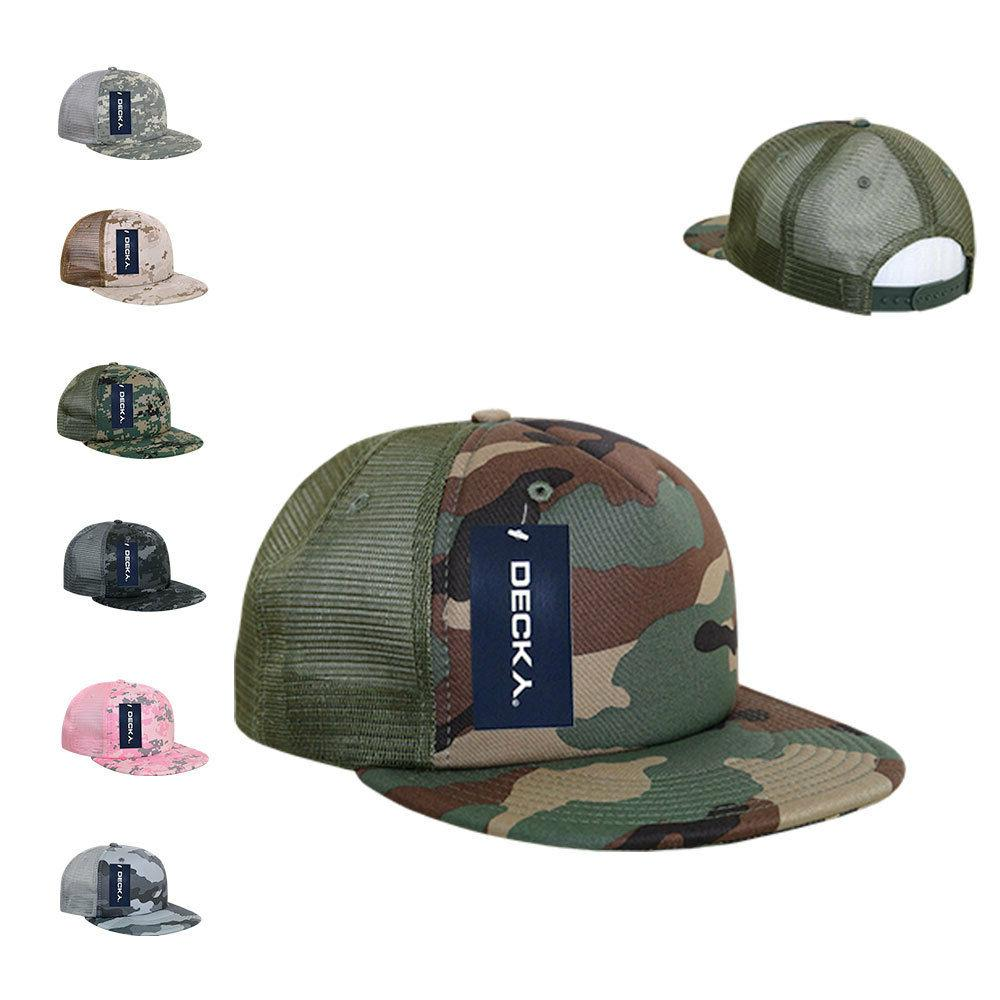 Decky Flat Bill Camouflage Cotton Foam Mesh Trucker Hats Cap