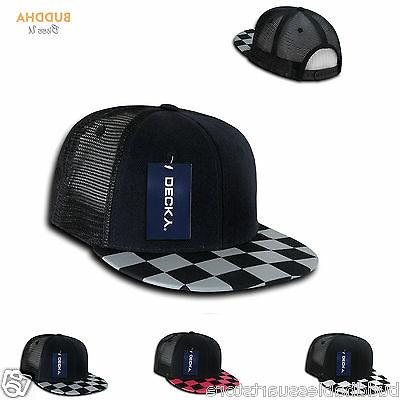 DECKY Flat Bill Checkered Racing Flag 6 Panel Trucker Hats C