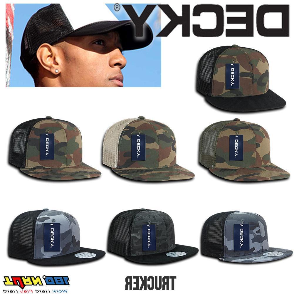 camouflage flat bill trucker hat 6 panel