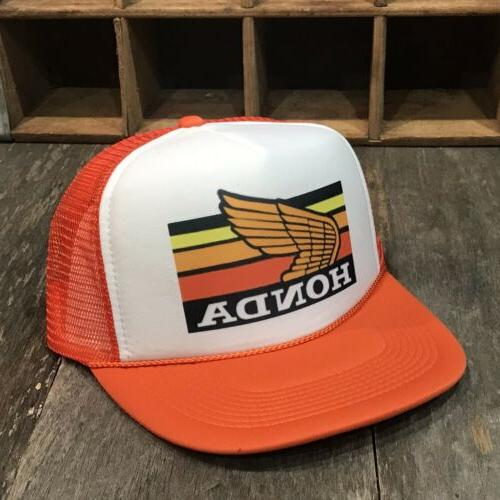 Honda Gold Wing Motorcycle Vintage 80s Trucker Hat Snapback ATC Rec Orange