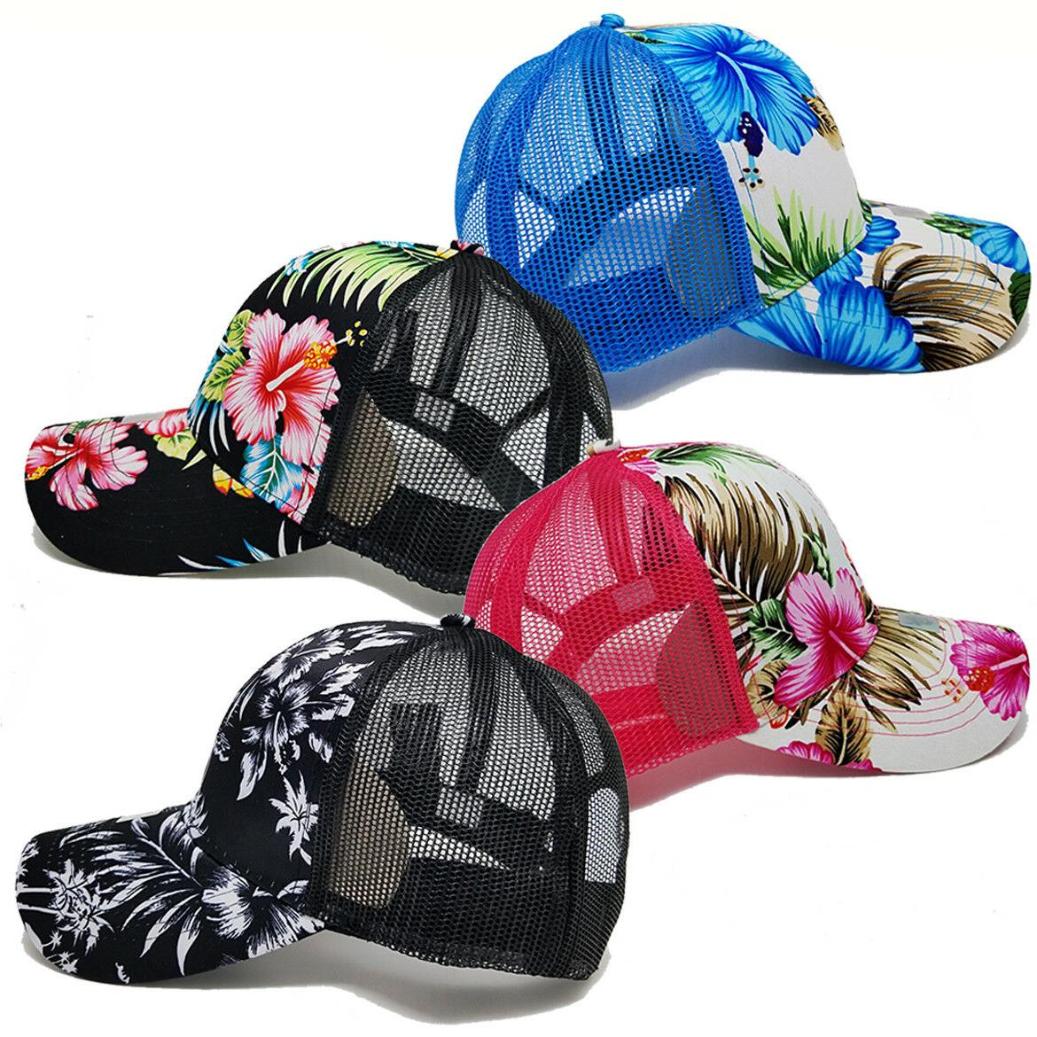Hawaiian Hat Mesh Women Men Flower