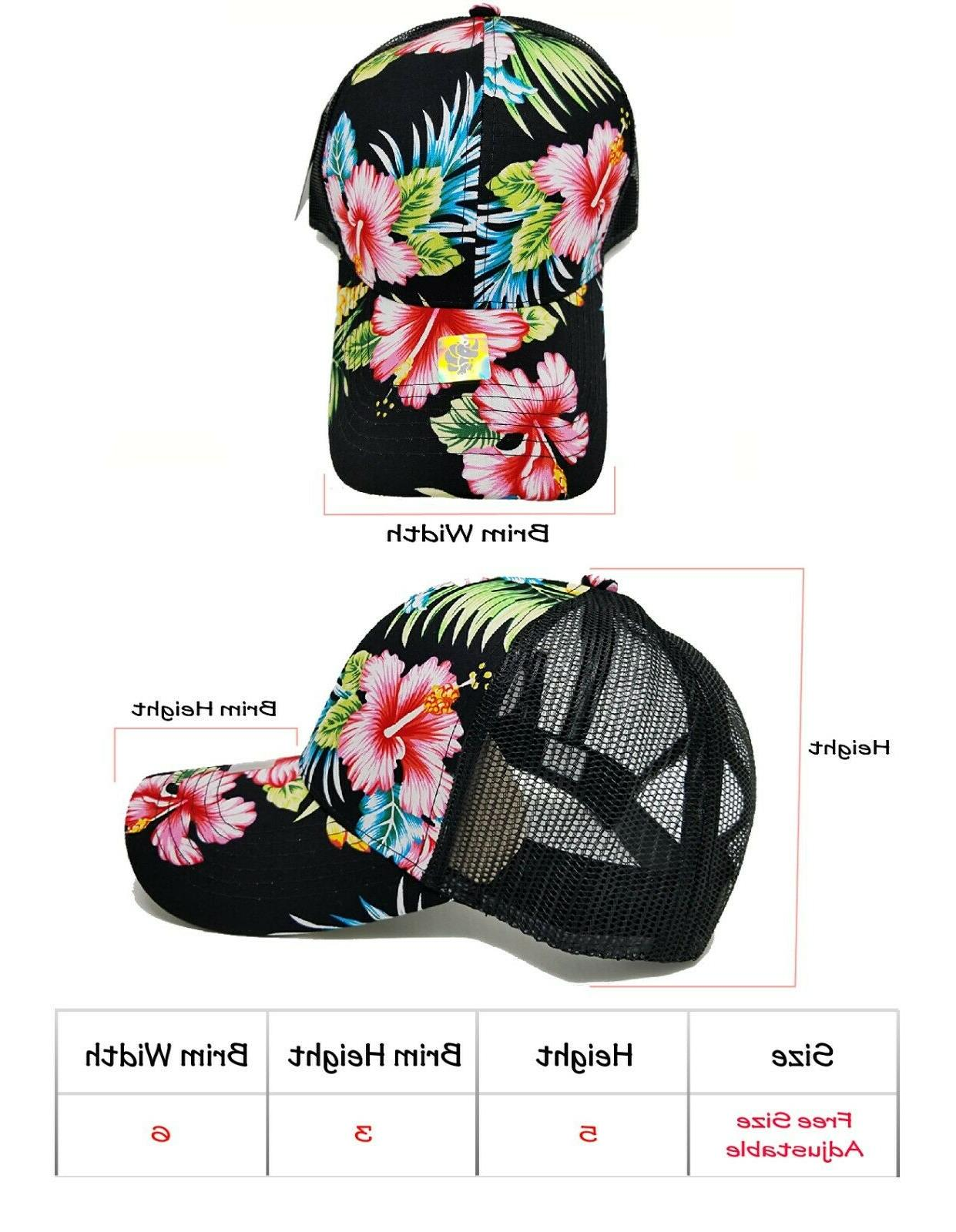 Hawaiian Hat Mesh Baseball Men Flower Floral