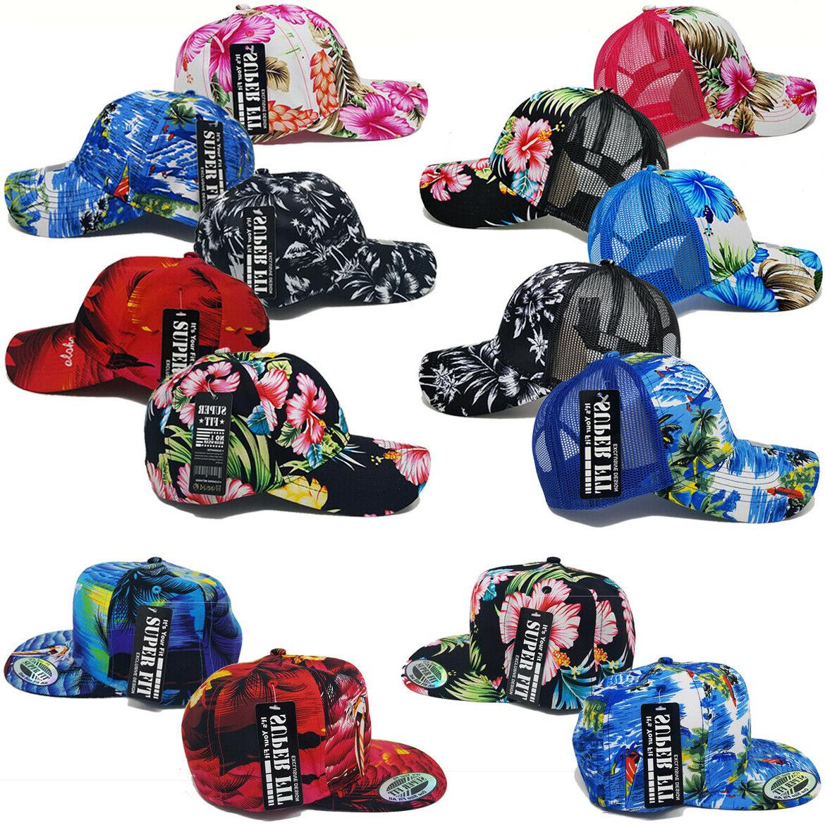 hat tropical trucker mesh baseball women men