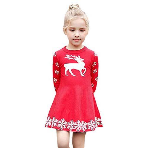 kid baby girls christmas dress deer snowflake