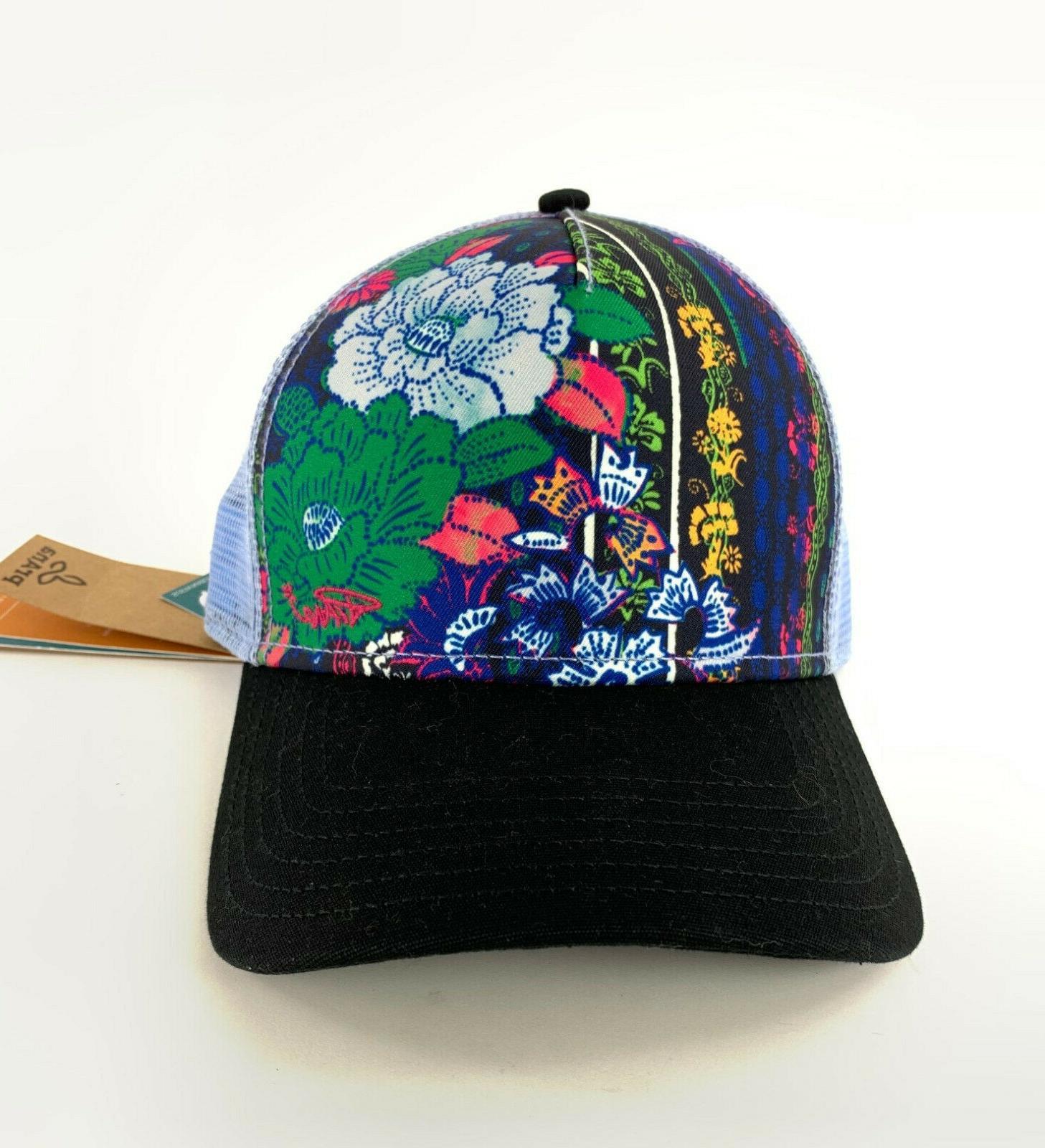 la viva trucker hat floral pattern black