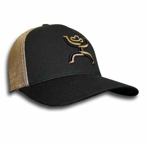 "Hooey Hat Men's Black/Khaki ""Coach"" FlexFit Trucker Ball Cap"