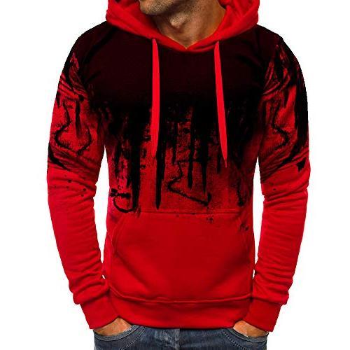 men s gradient color winter pullover hooded