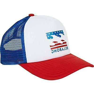 men s red white podium trucker hat