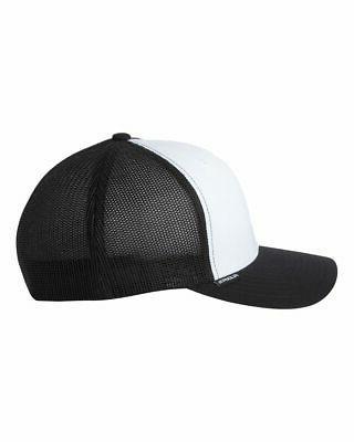 Flexfit Trucker Hat Structured, Ball Blank Solid Mesh
