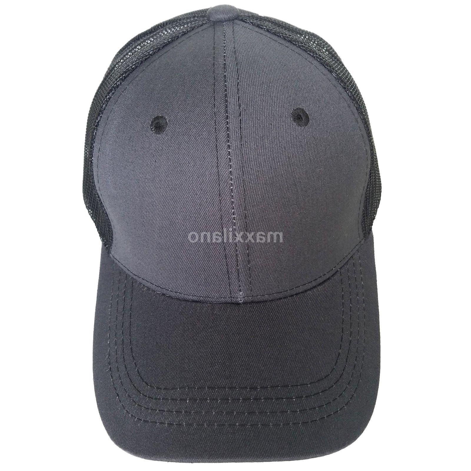 Trucker Cotton Mesh Solid Washed Polo Baseball Cap Visor Mens
