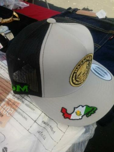 michoacan federal 3 logos grey blacktrucker hat