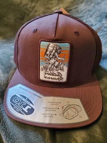 mountain life squatchin trucker hat cap brown