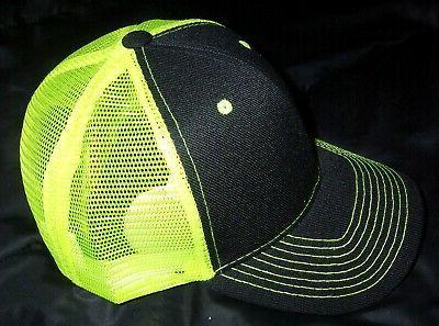 neon yellow green mesh back trucker hat