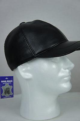New Black Leather Cap