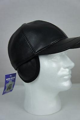 New Black 100% Leather Hat Biker M-2XL