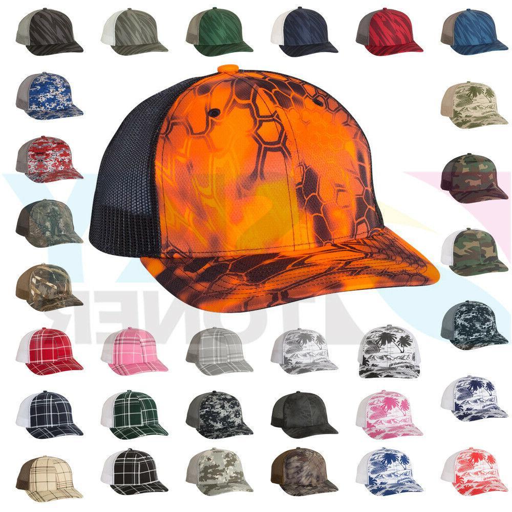 new camo patterned trucker ball cap meshback