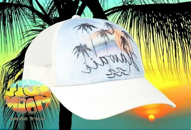 New Billabong Hawaii Palm Tree Sunset Womens Trucker Snapbac