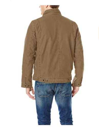 New Men's Levi's Canvas Jacket Sherpa LIned Collar Zip XL