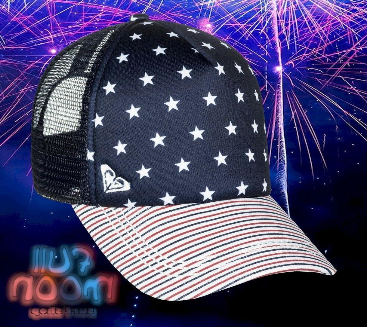 New ROXY Truckin 4th Of July Womens Snapback Trucker Hat Cap