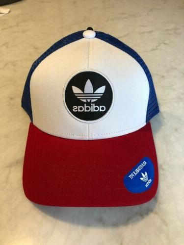 NWT Adidas Originals Red White Mens Snapback Trucker Cap