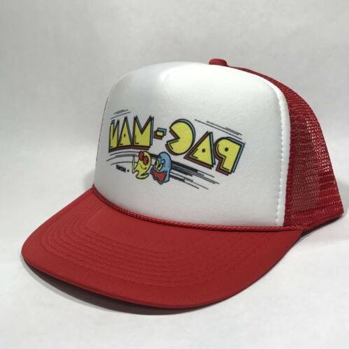 PAC-MAN Atari Trucker Hat Vintage Retro Video Game Red Cap