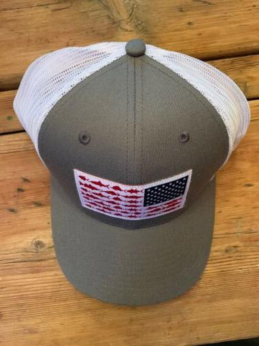 Columbia PFG Mesh Hat Titanium Fish Flag One Sixe
