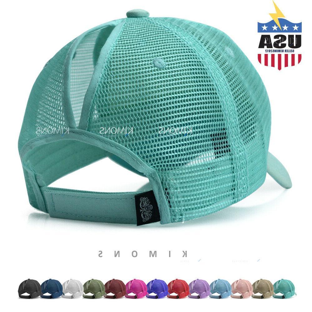 ponytail baseball cap messy high buns mesh