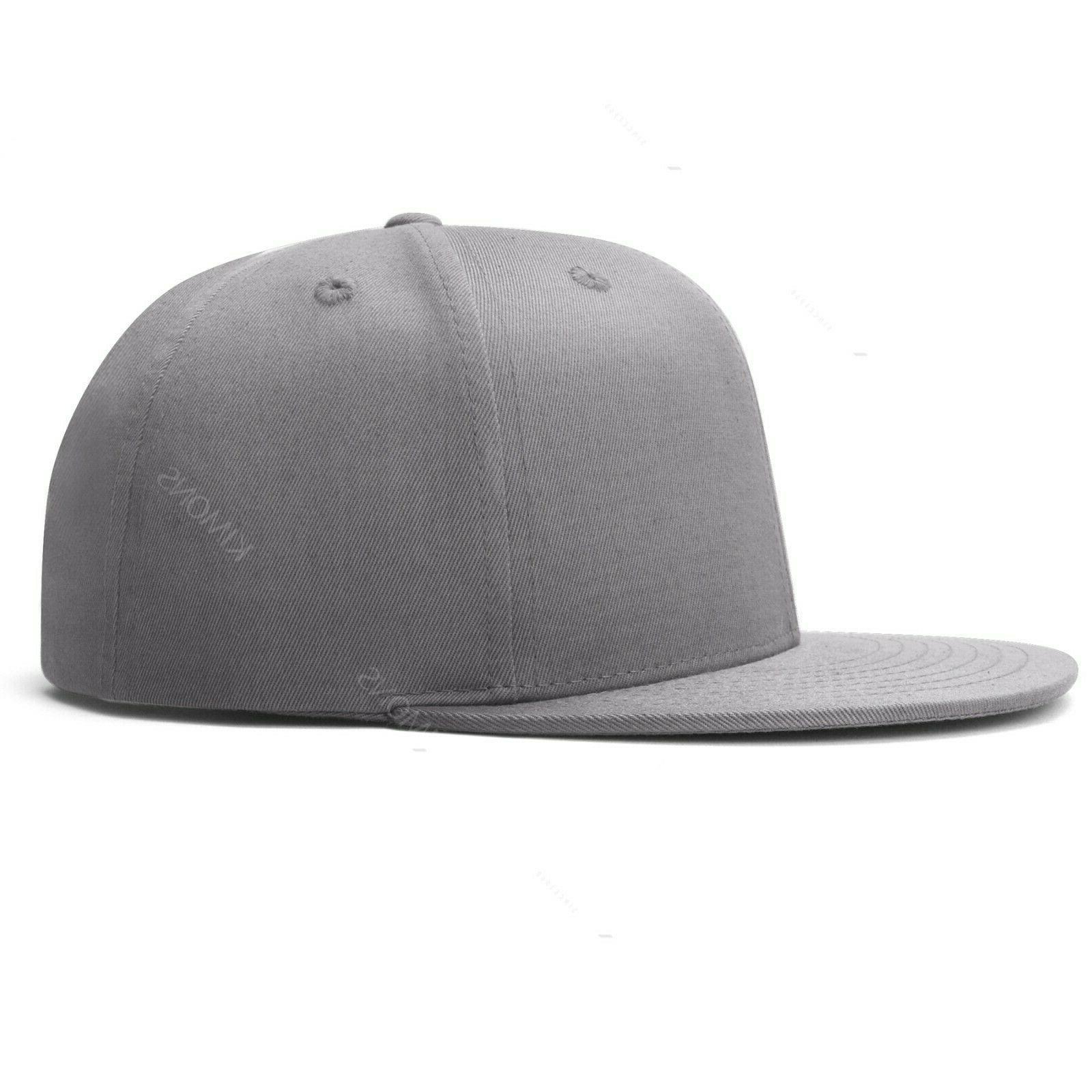 Snapback Hat Classic Hip Hop Flat Brim Cap Solid Army