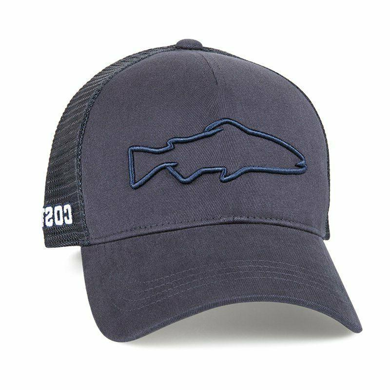 stealth trout logo vented trucker hat navy