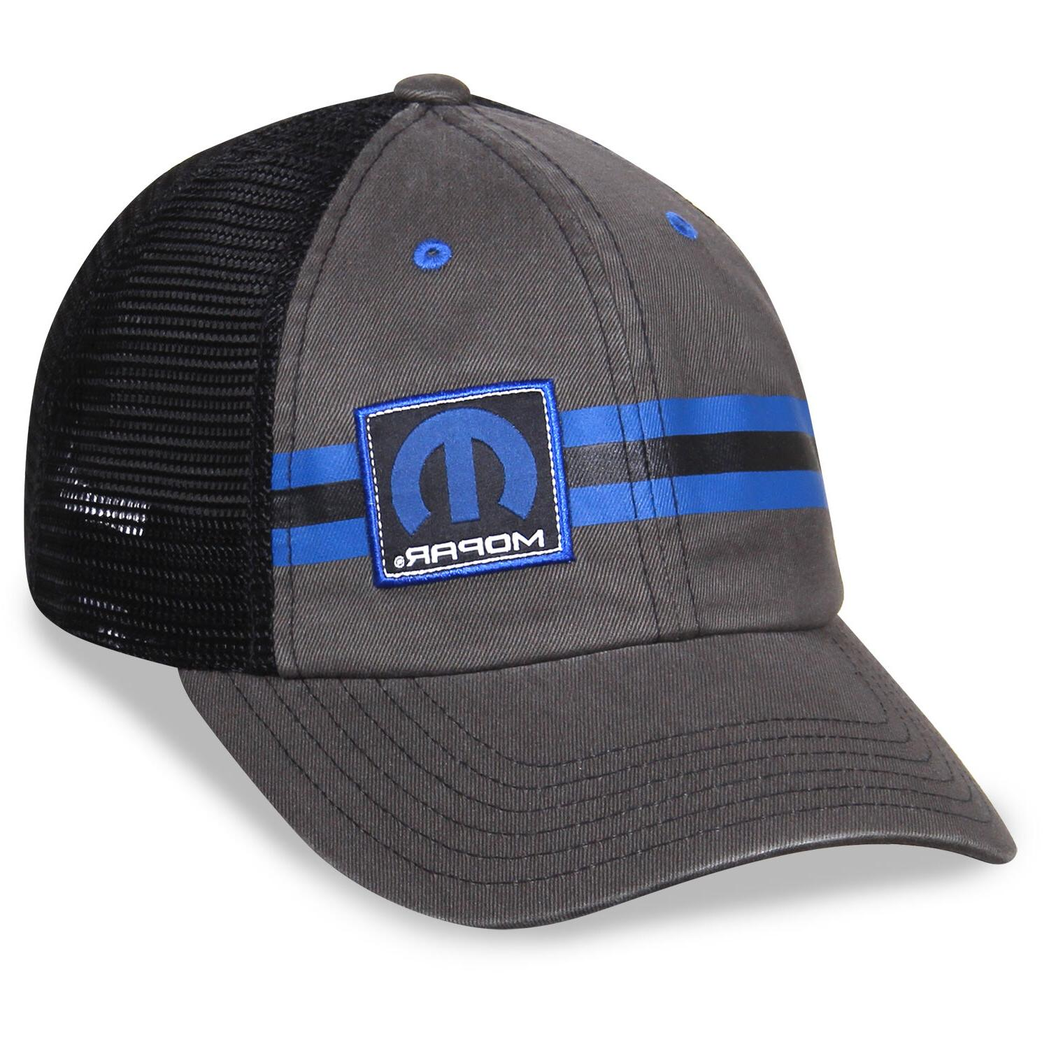 Mopar Striped Gray Black Hat Trucker Style, Unstructured
