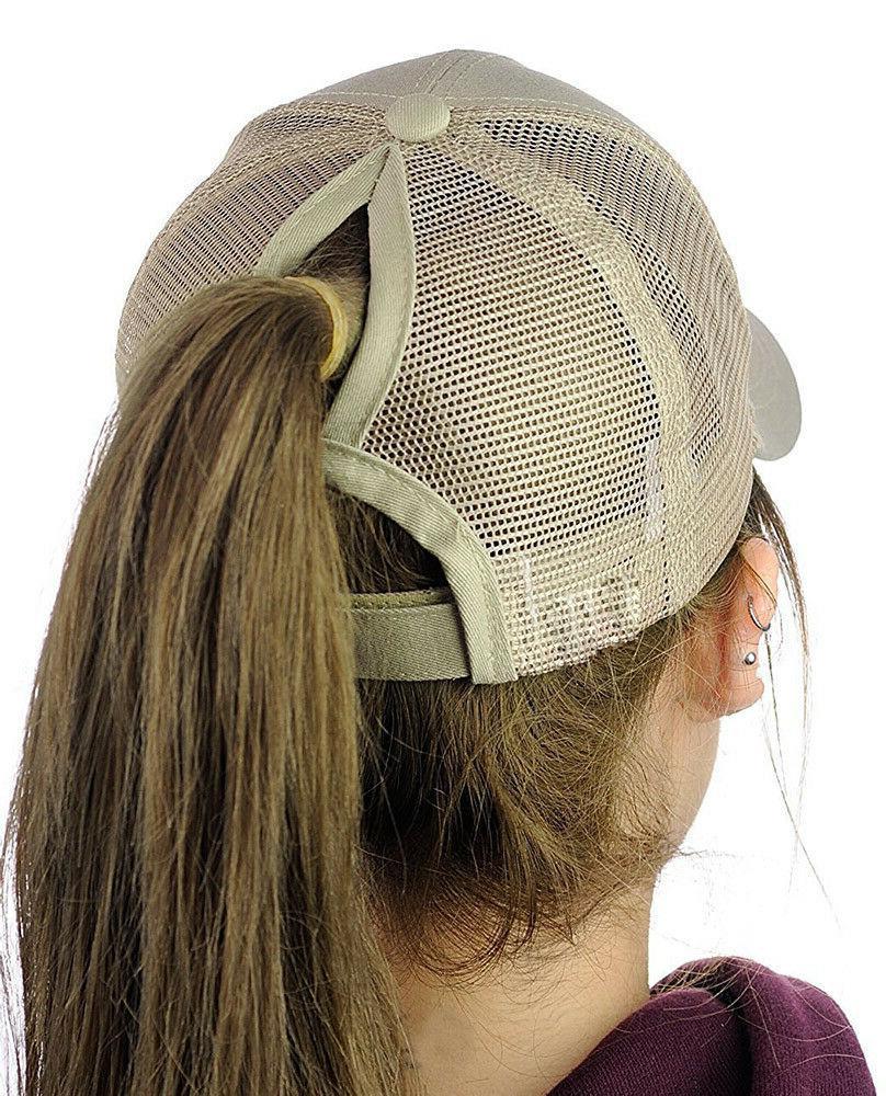 Summer Women Messy Ponytail Sport Trucker Hat Cute