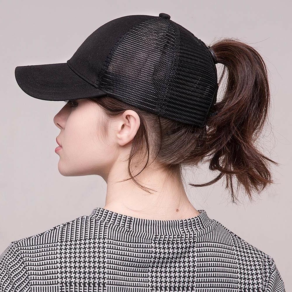 summer baseball cap women messy bun ponytail