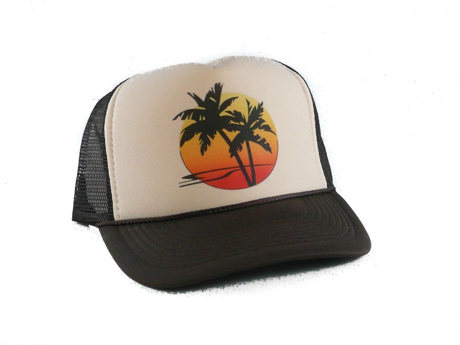 NEW Sunset Palm Trucker Hat mesh hat snapback hat tan brown