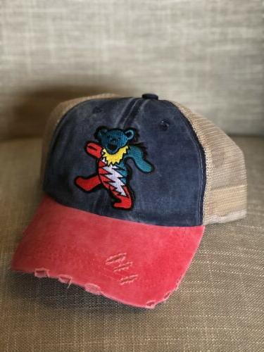 trucker hat bear embroidered patch cap music