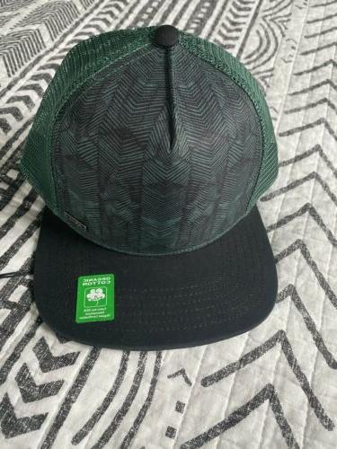 trucker hat black and green organic cotton