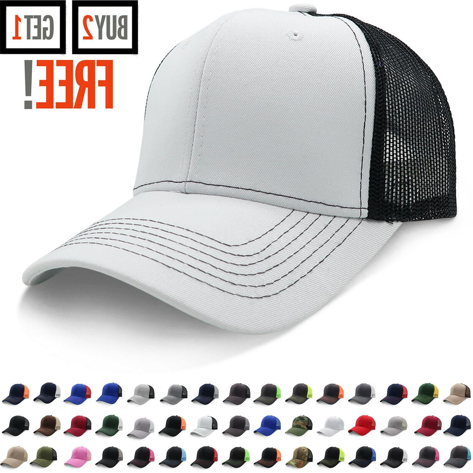 trucker hat cotton mesh solid washed polo
