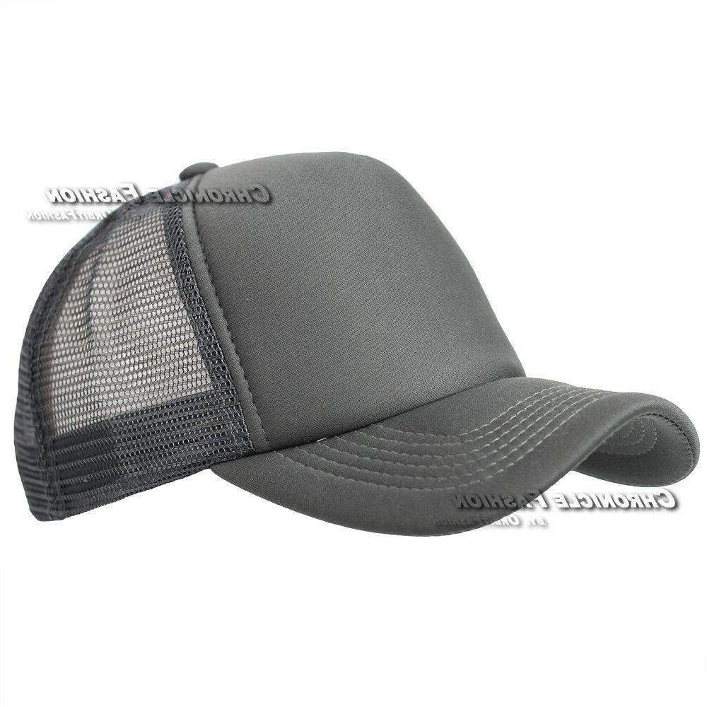 a999fdf9c5f Trucker Hat Mesh Plain Snapback Hats Curved Visor