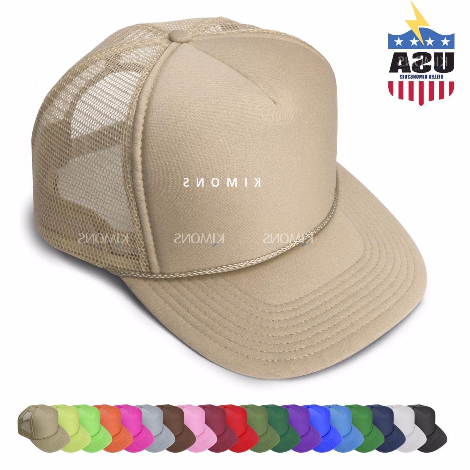 Trucker Hat Mesh Baseball Cap Snapback Solid Plain Hats Flat