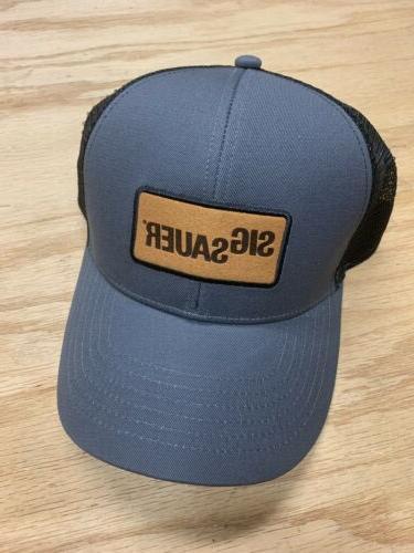 trucker hat leather patchgray mesh back baseball
