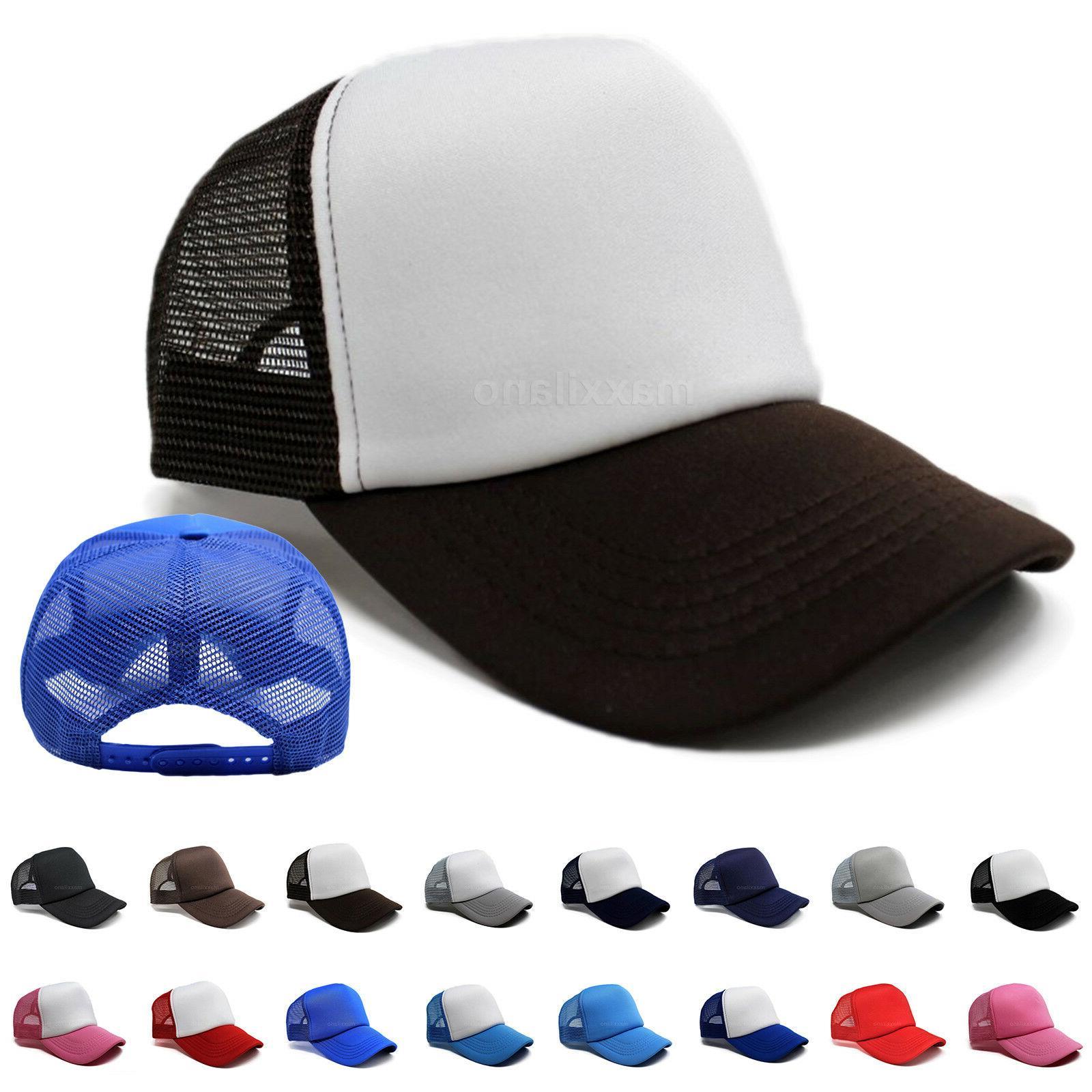 Trucker Hat Mesh Cap Baseball Bill Curved Solid Men New