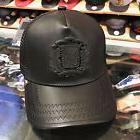Gold Star Trucker Snapback Hat Cap Black Leather/Black Badge