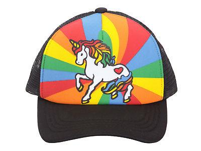 Unicorn Mesh Trucker Hat - Black w/ Rainbow