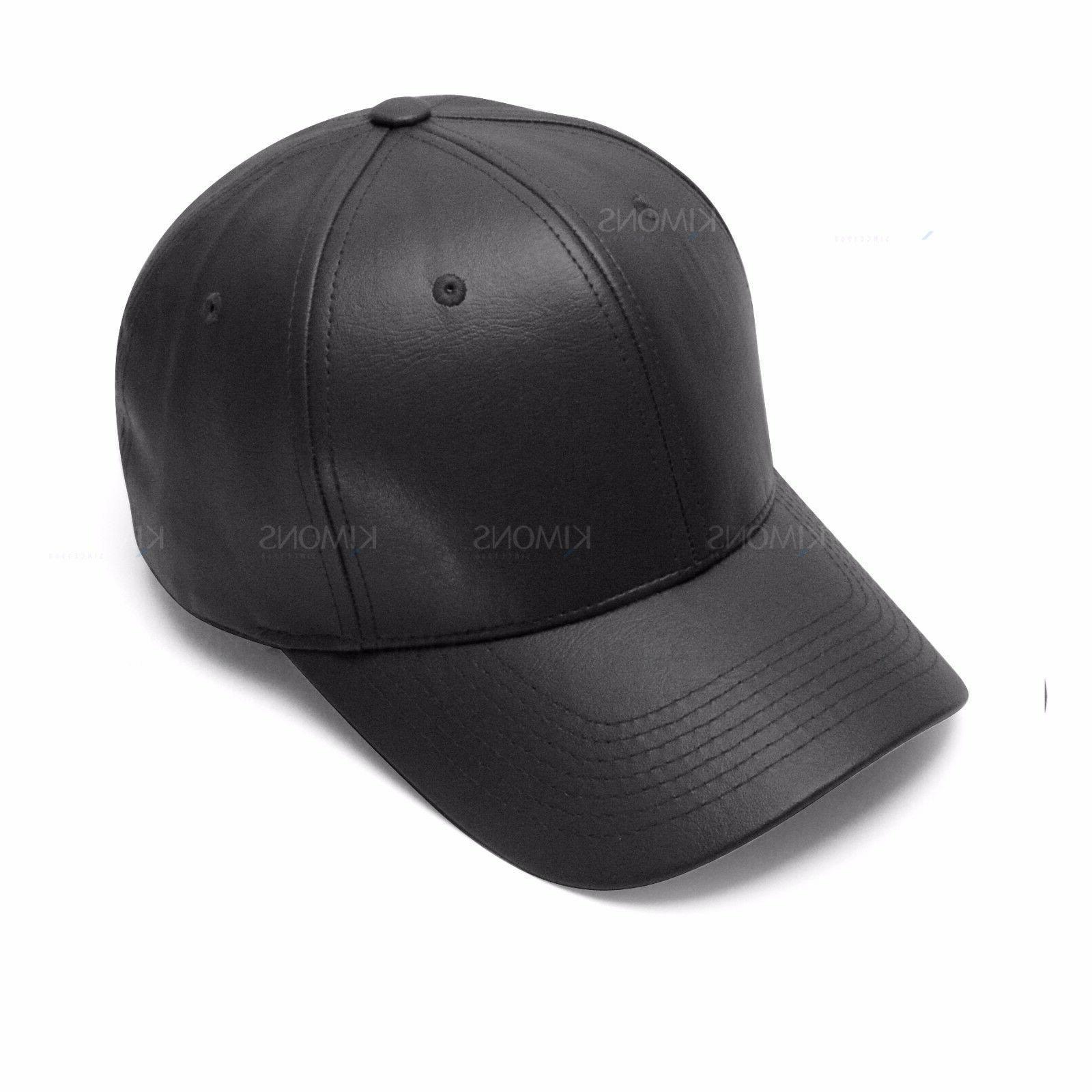 V-Adjustable Solid Leather Classic Unisex Baseball Plain Blank Hat